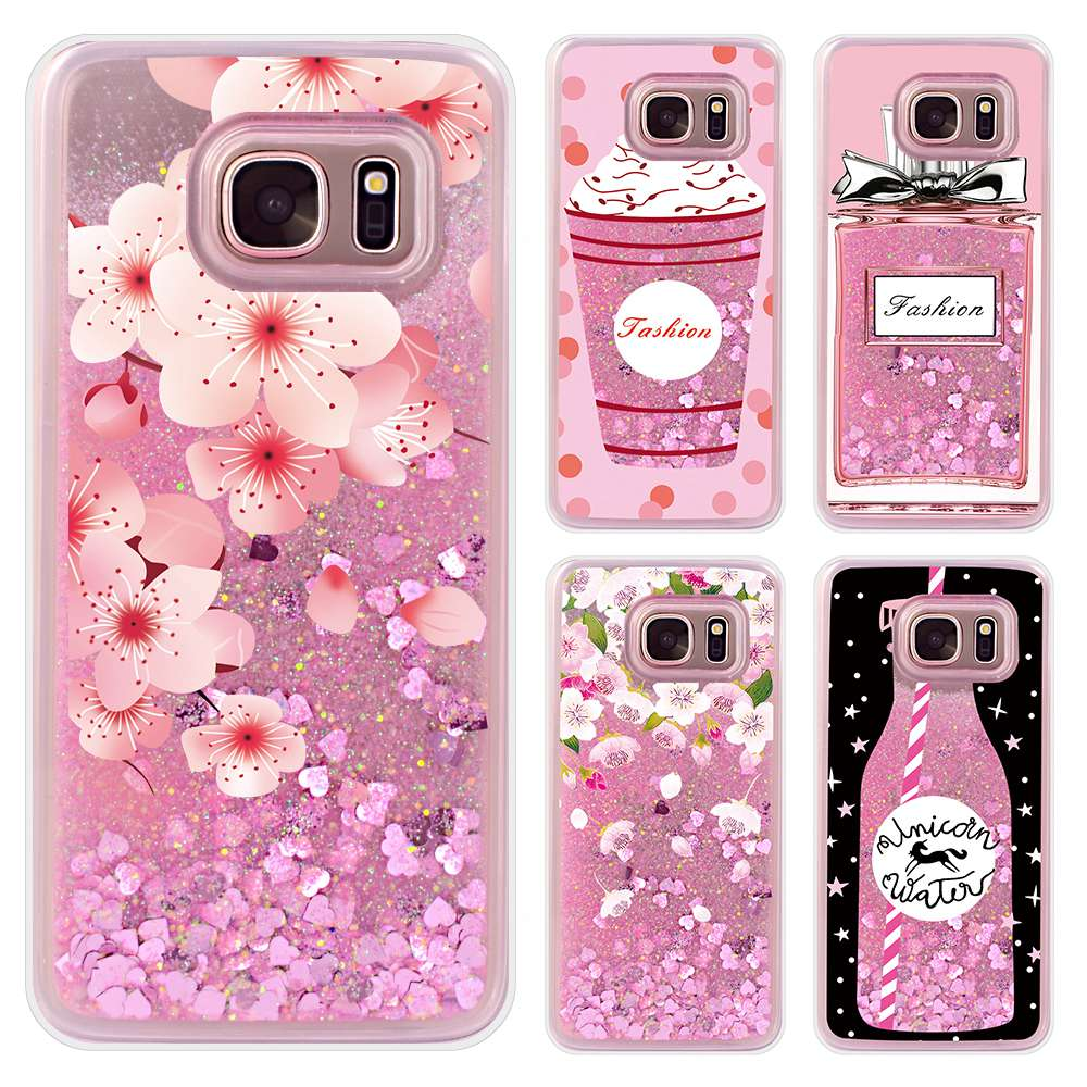sale retailer 9382f 3bbc3 US $4.27 |Luxury Liquid Coque For Samsung Galaxy S7 Edge Case Pink Flower  Cover For Samsung S7 Edge Case For Galaxy S7 Edge Case Funda 5.5-in Fitted  ...