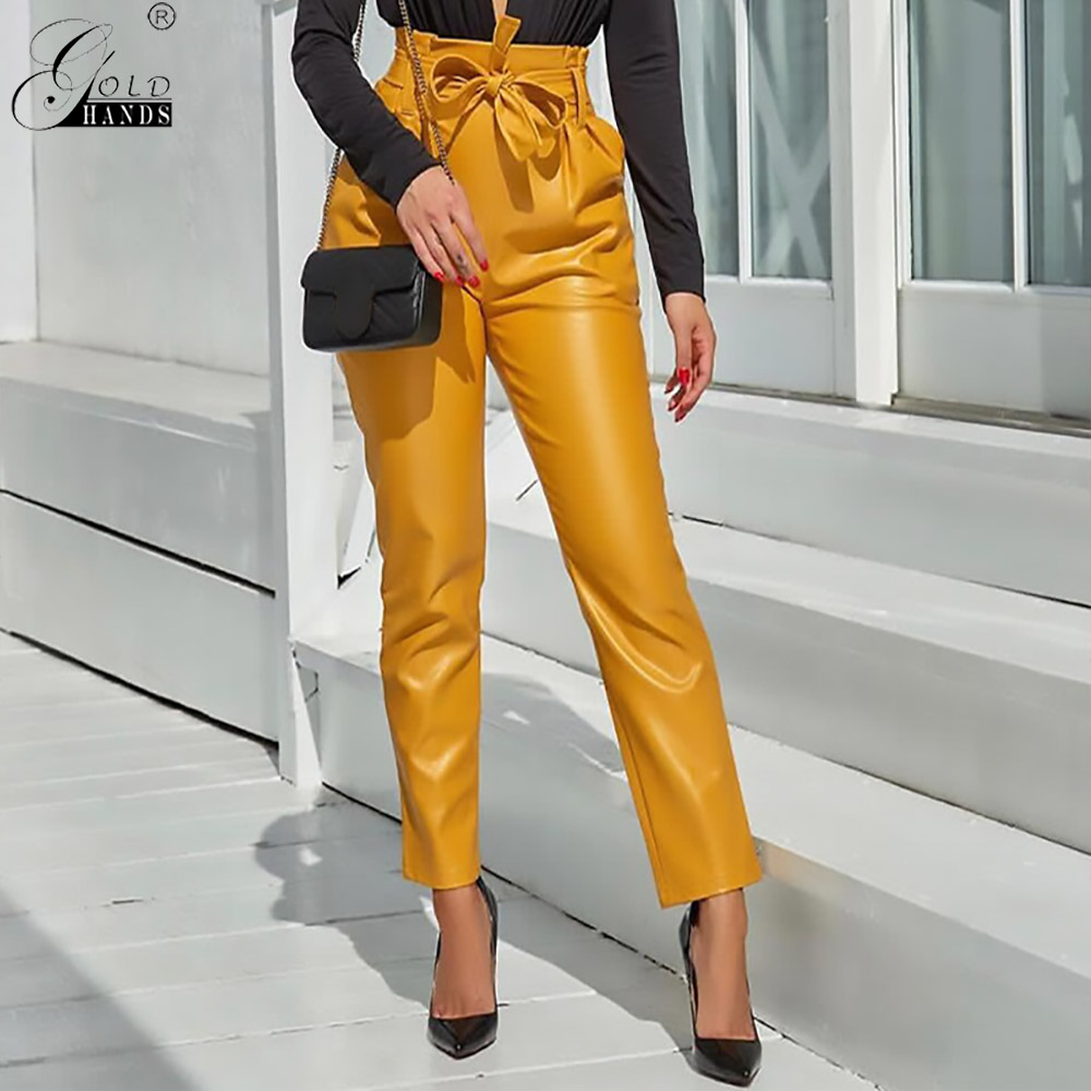 Gold Hands New Self-cultivation High   Pants   Solid Color With Sashes Fake Zippers Full Length Pencil   Pants     Capris   Free Shipping
