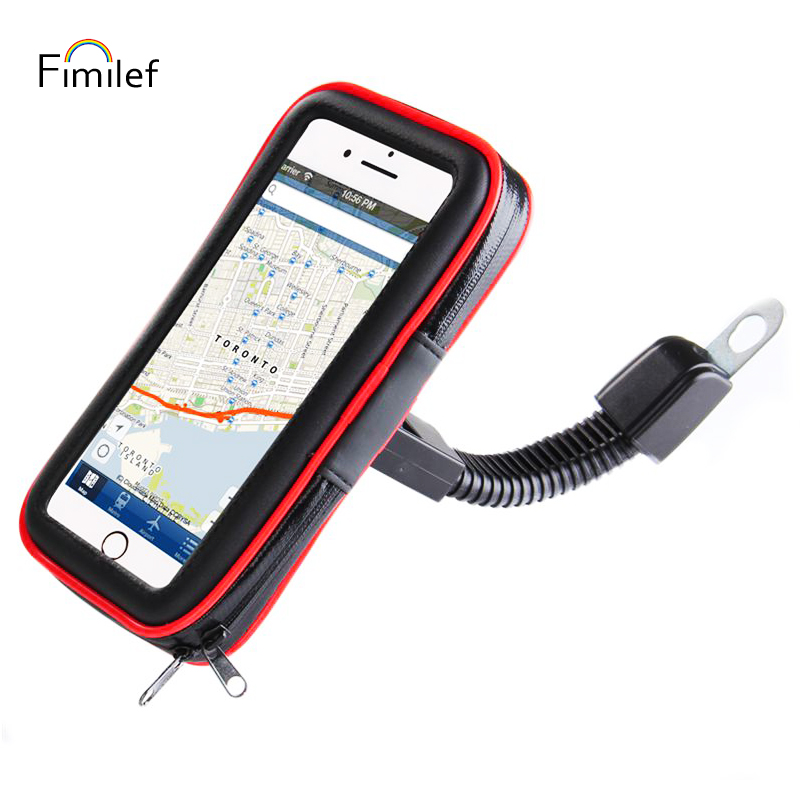 Fimilef Motorcyle Car Rearview Mirror Mount Bag Phone Holder Phone GPS Waterproof Case Phone Bag Stand Waterproof Touch Screen