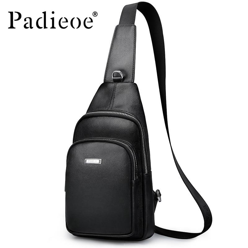 Padieoe nouveau Designer hommes poitrine sac luxe en cuir véritable homme sacs sac à bandoulière pour voyage bandoulière cartable poitrine Pack noir