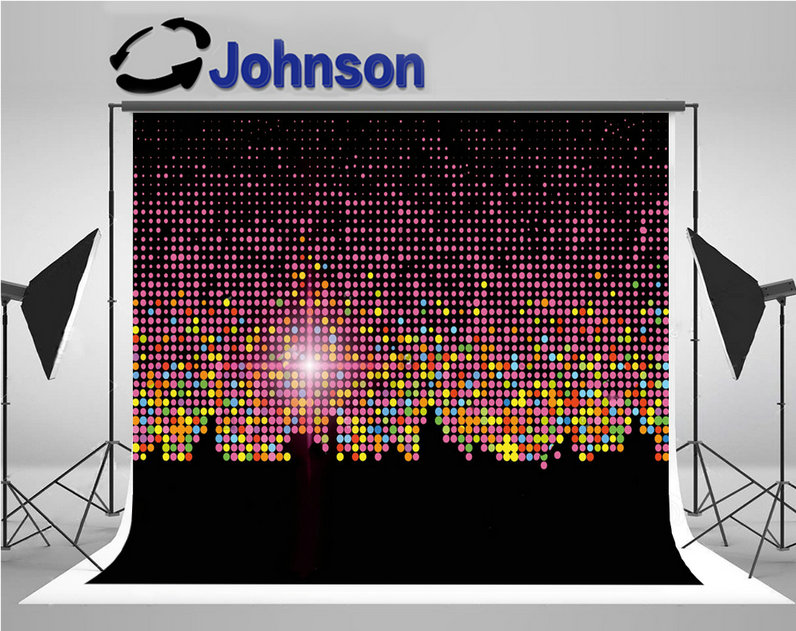 rainbow polka dot sparkly colorful city night light background Vinyl cloth High quality Computer print party backdrop