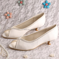 Wedopus MW1007 Large Size Women Shoes Peep Toe Low Heeled 4CM Ivory Satin Pumps Dropshipping