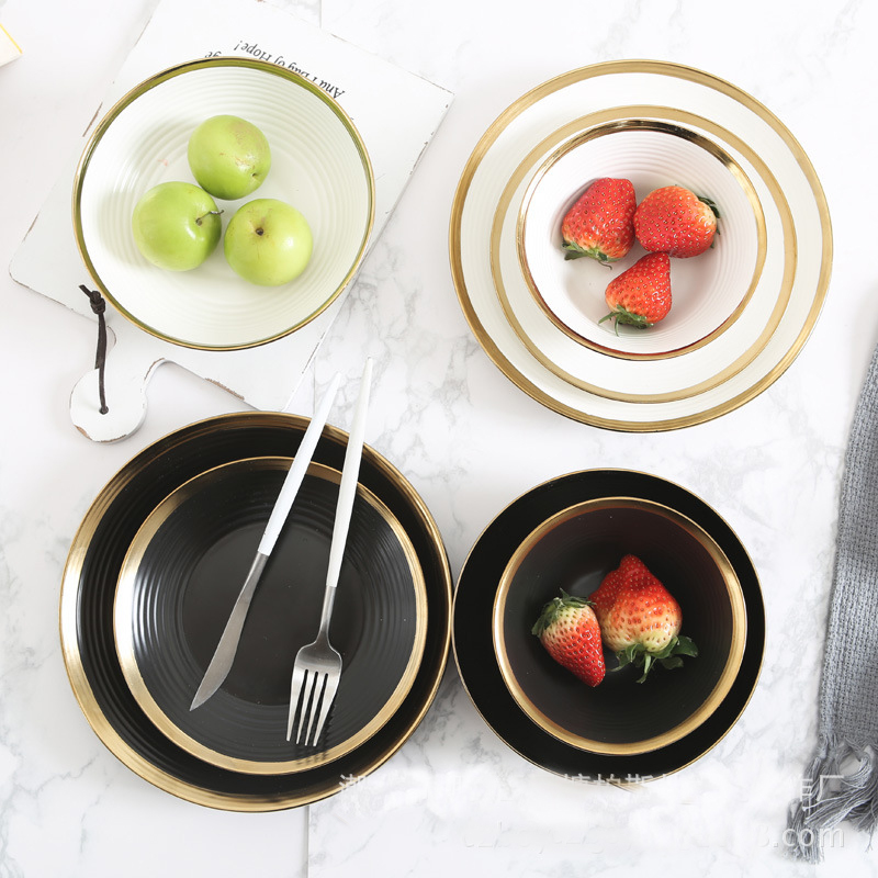 Lekoch 7 Inch European Ceramic Plate Gold Food Steak Creative Dishes Round Fruit Flat Plate Salad Plate Dish Cutlery Household