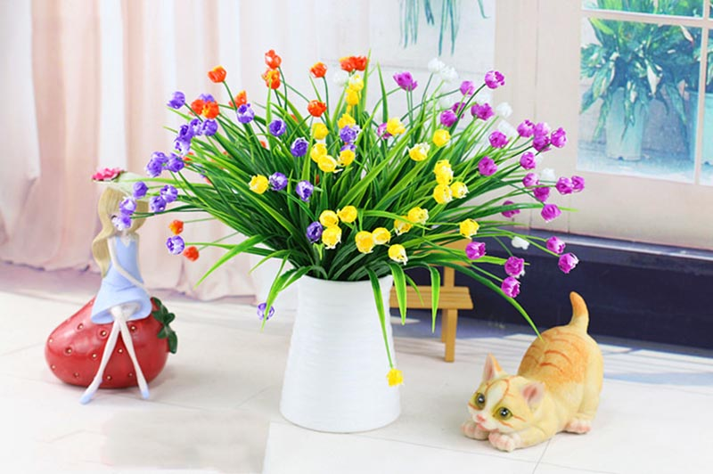 Flone Artificial Plastic Fake Flowers 35cm Small Flower Bouquet Tulip Home Living room Warm Decoration Garden Artificial Flowers (30)