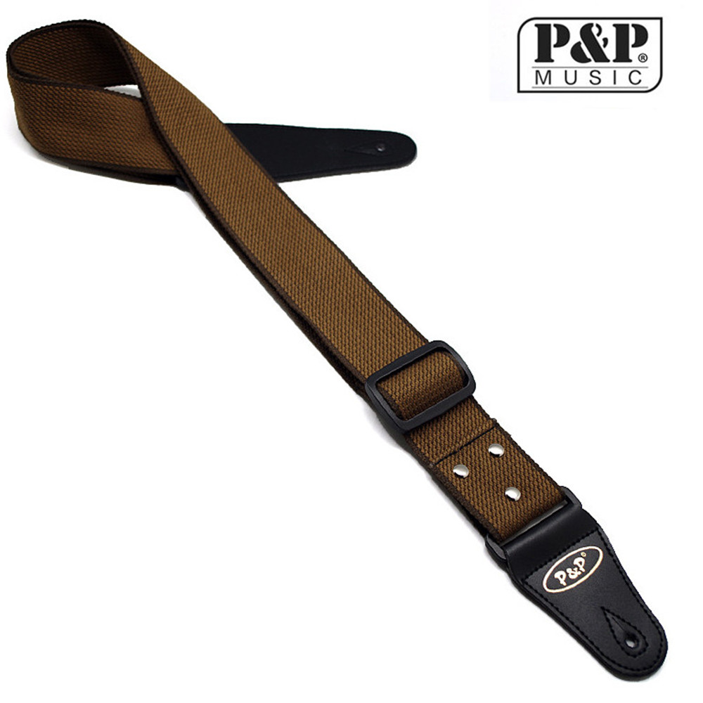 Adjustable Straps Woven Cotton Guitar Strap with Leather Ends for Classical Acoustic Folk Electric Bass Guitar Belt