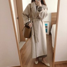 Women Korean Winter Long Overcoat Outwear Coat Loose Plus Size Cardigans Long Sleeve Manteau Femme Hiver Elegant cheap Wool Blends Full X-Long Solid Adjustable Waist Turn-down Collar Open Stitch REGULAR 71 (inclusive) -80 (inclusive) Casual
