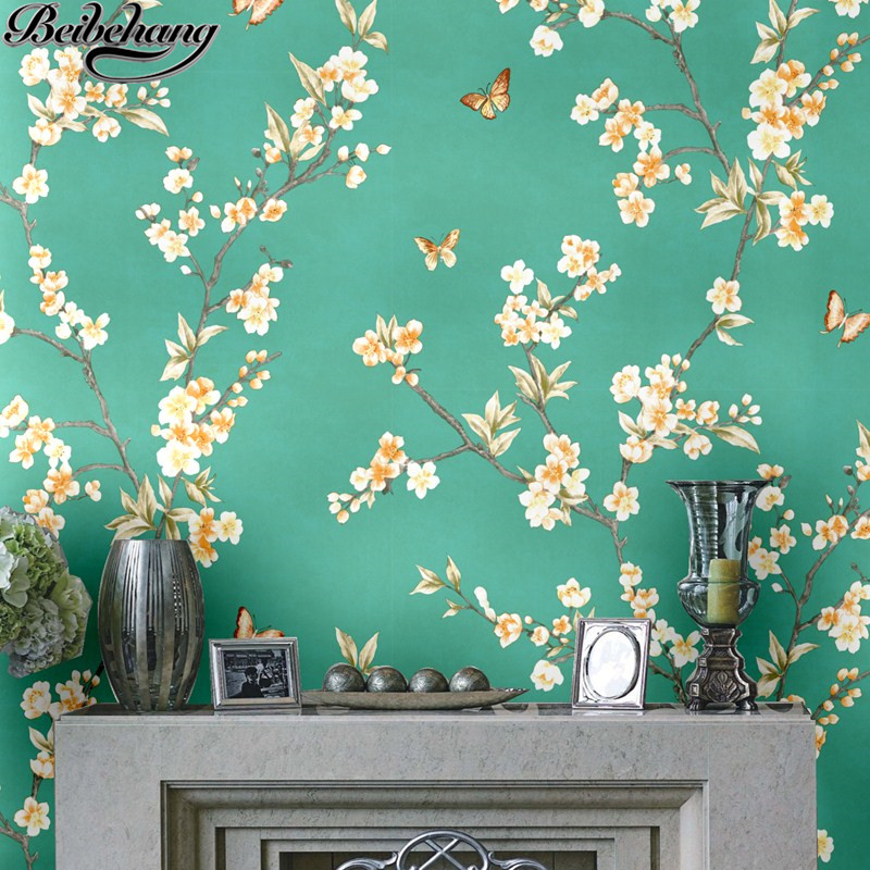 beibehang High-end wallpaper peach blossom small broken flower butterfly new Chinese style living room bedroom wallpaper chinese flower tea mountain peach peach flower mountain peach tea f238