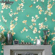 c1c6893c6cf673 Beibehang High-end behang perzik bloesem kleine gebroken bloem vlinder  nieuwe Chinese stijl woonkamer slaapkamer Hotel behang