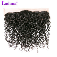 Luduna Brazilian Water Wave 13*4 Ear To Ear Lace Frontal Closure Non-remy Hair Weave Bundles 100% Human Hair Shipping Free
