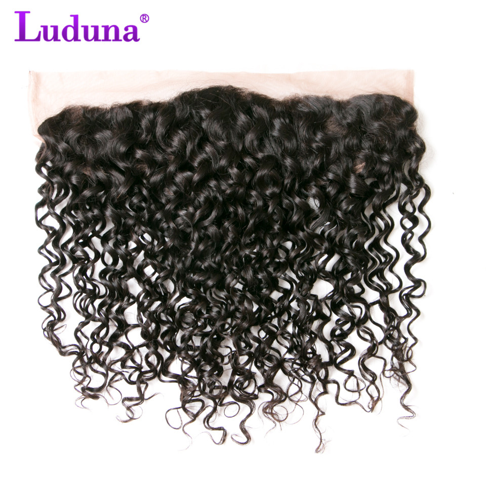 Luduna Brazilian Water Wave 13 4 Ear To Ear Lace Frontal Closure Non remy font b