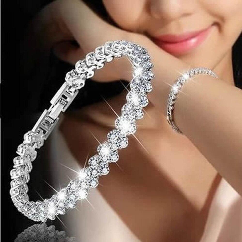 Women New Fashion Roman Style Woman Crystal 925 Sterling Silver Bracelet For Women Girls Jewelry Bracelets Pulseras Mujer z0515