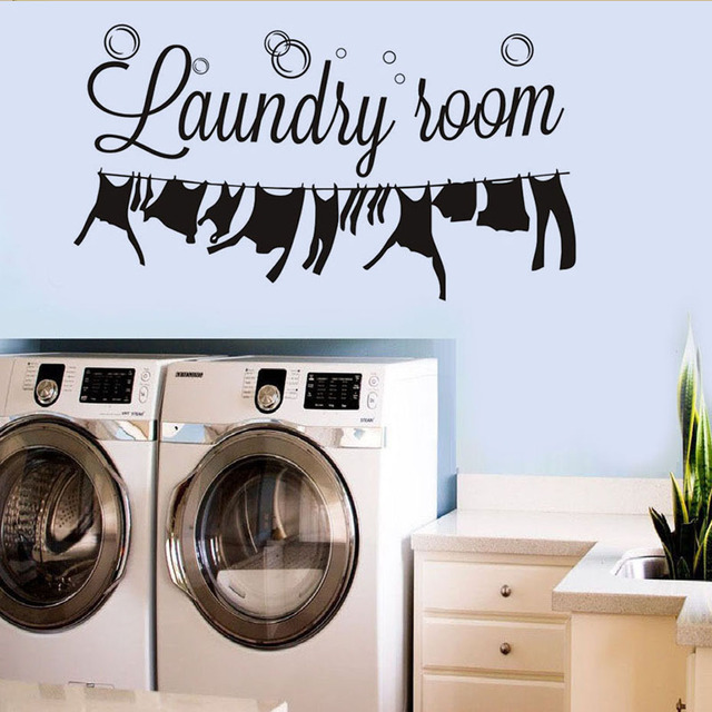 Laundry Room Wall Sticker Signs Window Decor Art Removable Vinyl Wallpaper Stickers Home Decoration Accessories