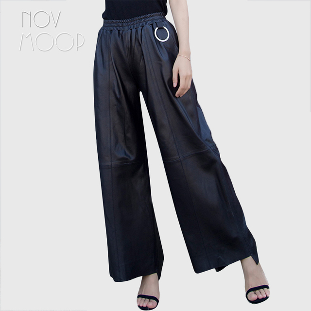 Women autumn winter black genuine leather lambskin long wide leg pants trousers elastic waist pantalon femme LT2591 free ship