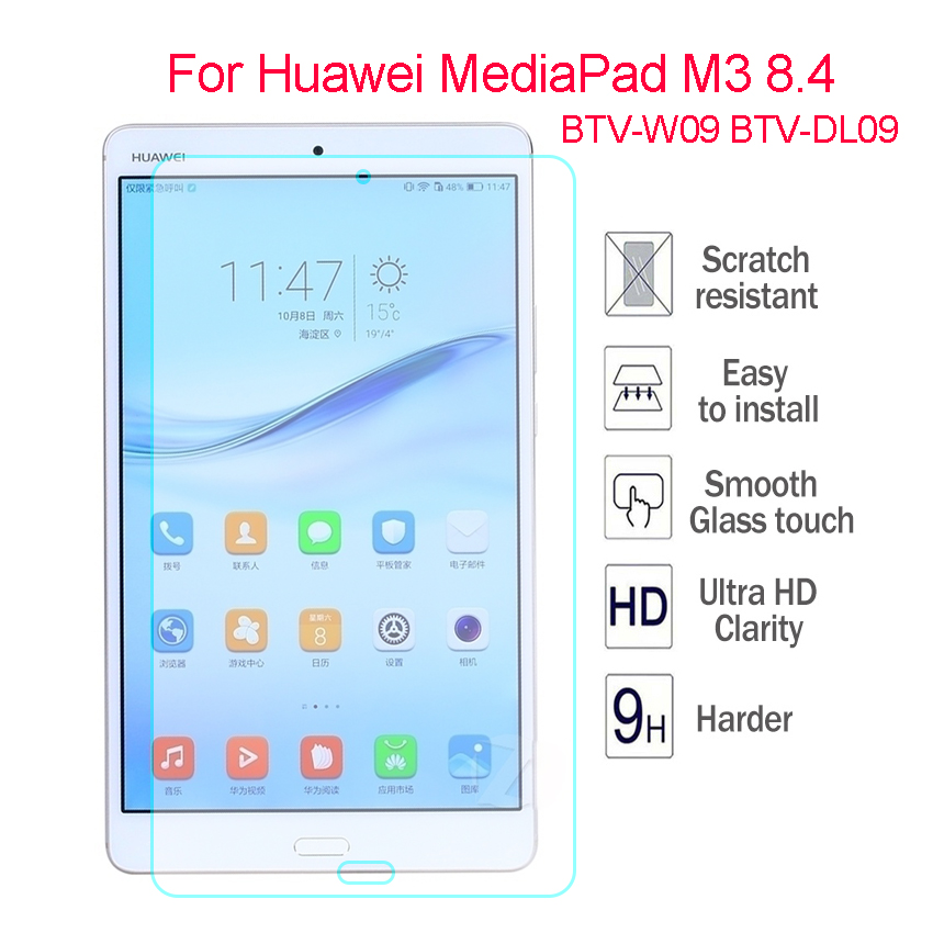 "9H Tempered Glass Screen Protector Guard Film For 8.4/""Huawei M3 BTV-W09 BTV-DL09"