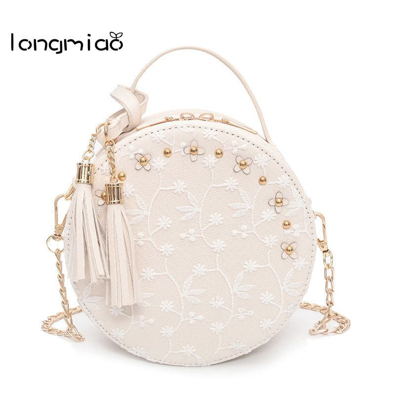 longmiao Sweet New Lace Round Handbags High Quality PU leather Women Crossbody Bags Female Small Fresh Flower Chain Shoulder Bag yuanyu 2018 new hot free shipping true python leather women single shoulder small real snake leather small sweet women chain bag