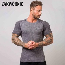 CARWORNIC Gyms Fitness T-shirt Compression Short Sleeve T Shirt Man Summer Quick Dry Breathable Tight Tee Tops Workout Clothing