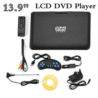 Portable DVD Player 13.9inch 110 240V HD TV EU Plug 800*480 Resolution 16:9 LCD Screen With High Capacity Rechargeable Battery