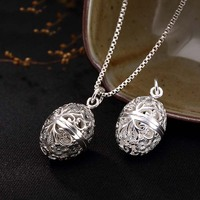 Openable Pure S925 Sterling Silver Hollow Circle Locket Pendants Necklace Vintage Women 925 Jewelry