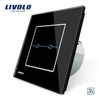 Free Shipping Livolo EU Standard Switch VL C702R SR2 Black Crystal Glass Panel AC 110 250V
