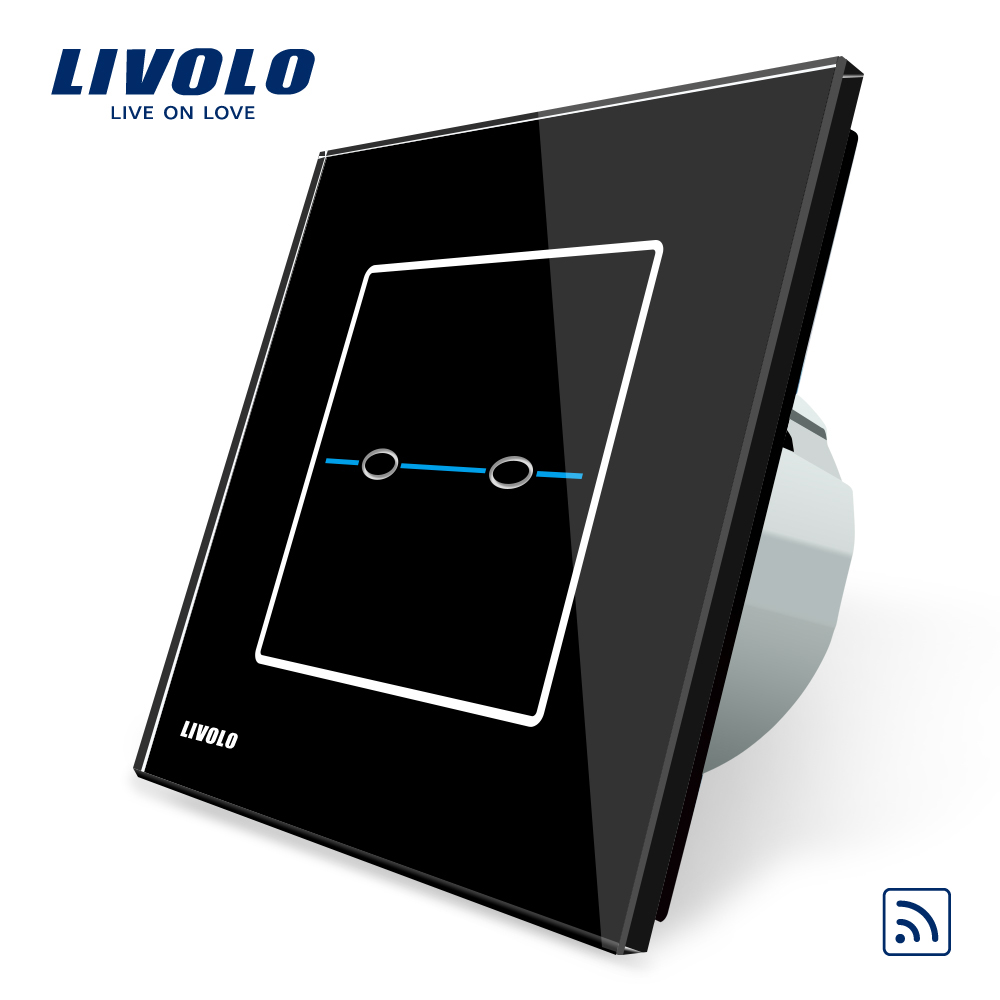 Livolo EU Standard Switch,VL-C702R-32,Black Crystal Glass Panel, AC 220~250V Wall Light Touch Remote Switch,No remote controller livolo eu standard touch timer switch ac 220 250v vl c701t 32 black crystal glass panel wall light 30s time delay switch