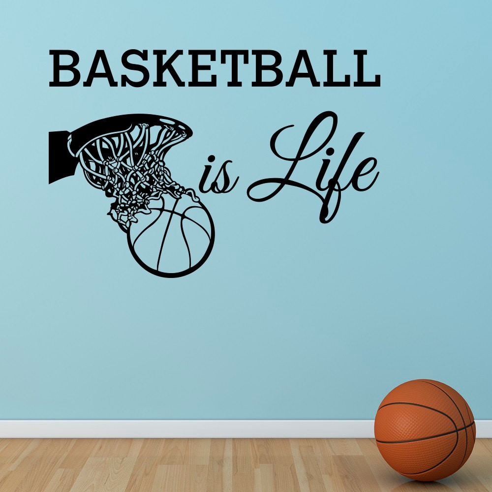 Free Shipping Basketball Is Life Wall sticker Quote Basketball Hoop Wall Sports Vinyl Nursery Kids Boys Room Art Home Decor