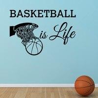 Livraison Gratuite Basket-Ball Est La Vie Wall sticker Citation panier de Basket Mur Sport Vinyle Pépinière Enfants Garçons Chambre Art Décor À La Maison