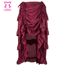 Dark Red Chiffon Ruffles Victorian Gothic Skirt Sexy Club Party Skirts Womens Vintage Front Short Back Long Steampunk Saia