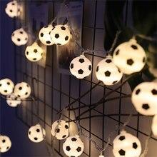 Bolas de futebol led corda guirlanda decoração quartos casa tema festa natal 3/5m decorativo luzes de fadas de futebol bateria usb