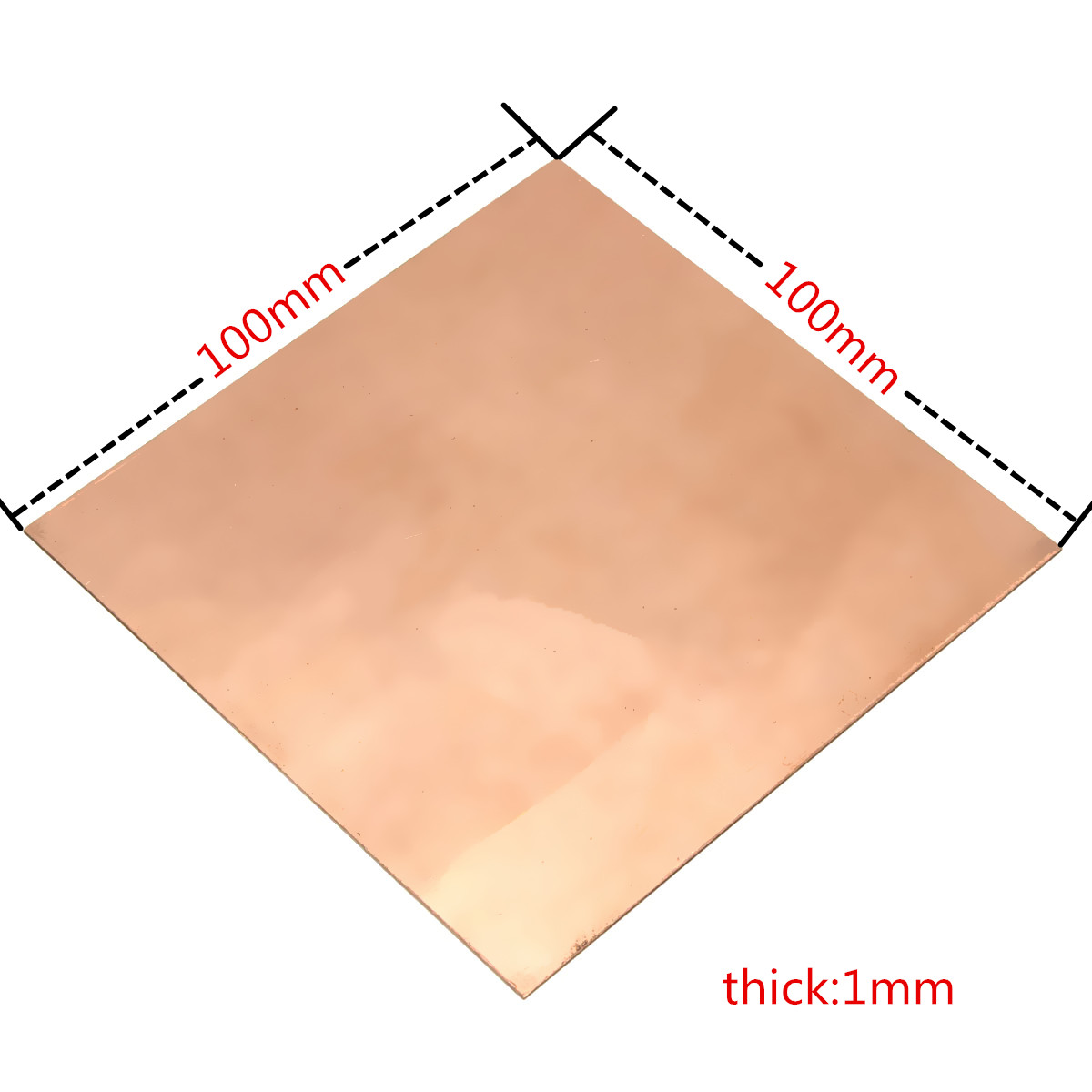 Brand New 99.9% Pure Copper Cu Metal Guillotine Cut Sheet Plate 1mm*100mm*100mm Safe Using Wholesale Price
