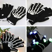 1pair Black Skeleton LED Gloves Fingers Light Up Toy Hip Hop Fashion Style Party Gloves Decoration
