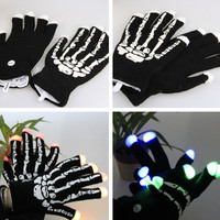 1pair Black Skeleton LED Gloves Fingers Light Up toy Hip Hop Fashion glow party Gloves decoration Night Light Cotton Glove