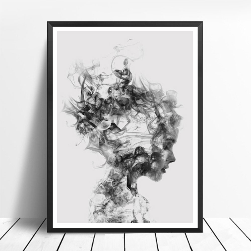 c4b63582b621f US $1.99 10% OFF|21 * 30 cm Fashion Black White Smoking Art Prints Poster  Personalized Wall Picture Canvas Painting Custom Bar Home Decor-in Painting  ...