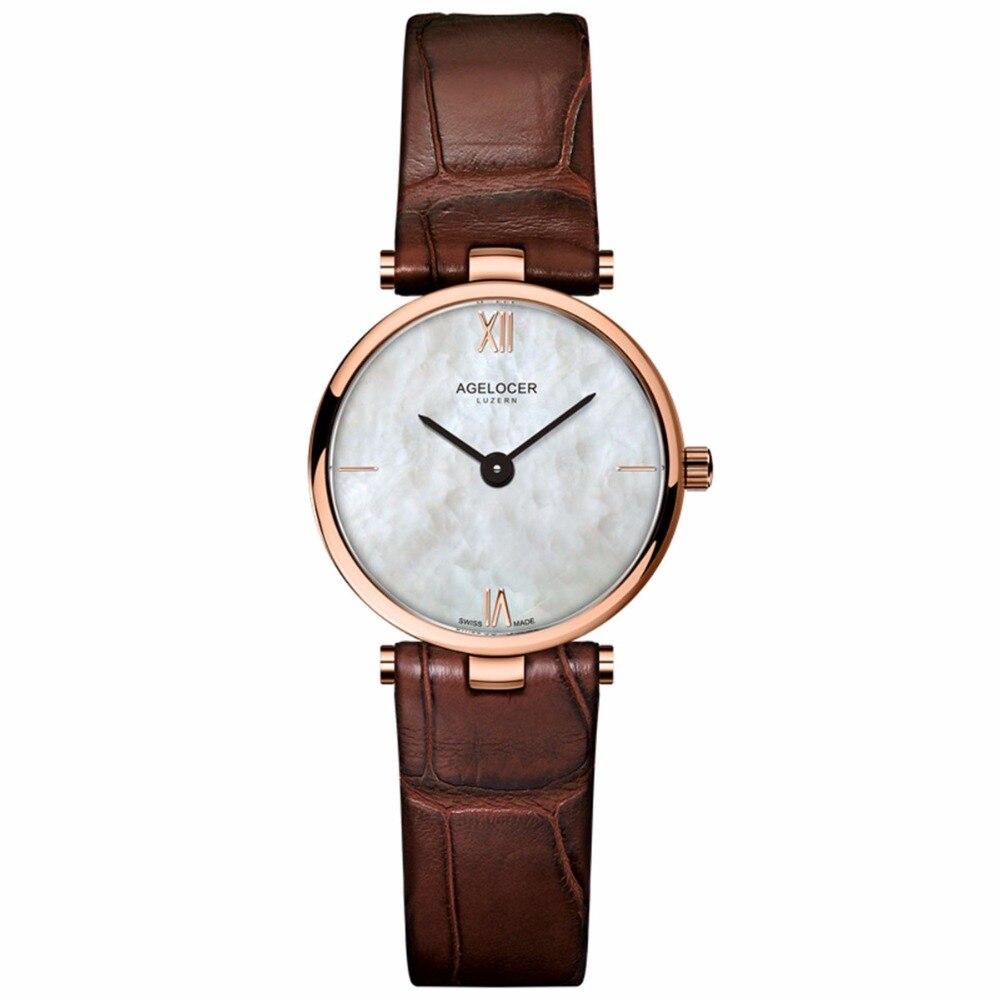 2019 Agelocer mode Simple élégant montres en or Rose Top marque de luxe Ultra mince montres pour dames Relogio Feminino 7084D2