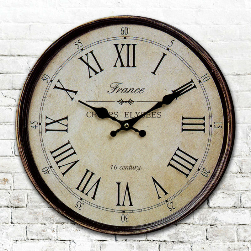 Large vintage europe style paris wooden wall clock antique for Antique wall clock wood