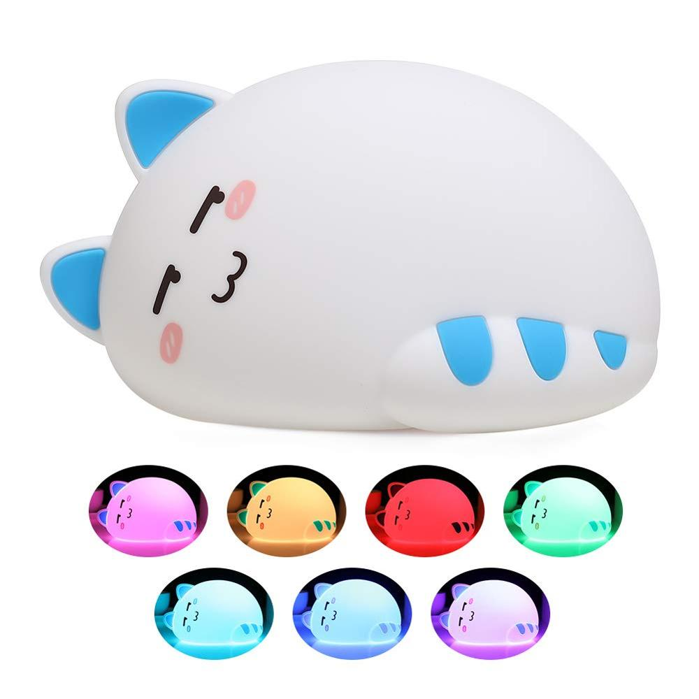 LED Night Light USB Rechargeable Cartoon Animal Cat  Silicone Soft Breathing Cartoon Baby Nursery Lamp For Children Gift