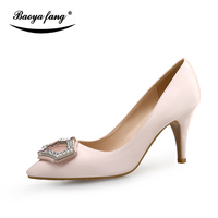 BaoYaFang Marca Satén zapatos de Las Mujeres solteras señoras 7 cm talón fino altas Bombas de las mujeres suela Roja zapatos de Vestido de Partido Birde weidding zapatos