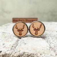 Deer Wooden Cuff Links Animal Wedding Gift Groomsmen Gift Deer Head Wood Cuff Links Deer Horn