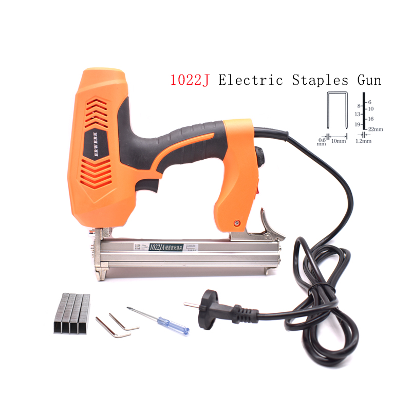 1022J Framing Tacker Electric Staple Gun With 300Pcs Nails For Woodworking Electric Power Tool1022J Framing Tacker Electric Staple Gun With 300Pcs Nails For Woodworking Electric Power Tool