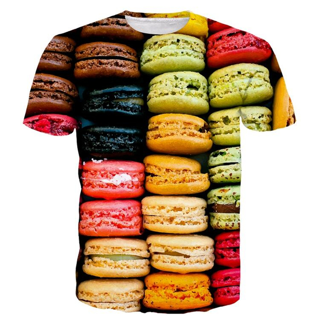 Casual Short Sleeve Summer Pizza Bacon Fast Food 3D T-Shirt Tee