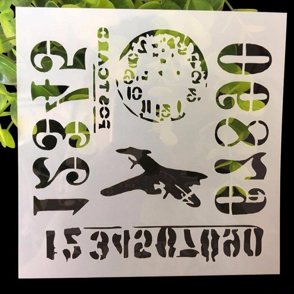 (5.1x5.1 inch) Travel Time Stencil paints imprint PET template Plastic spray mists scrapbook