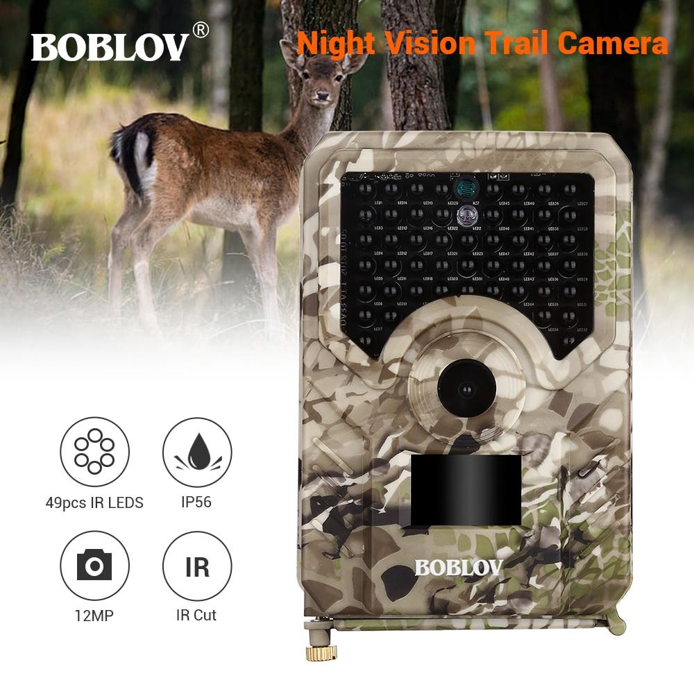BOBLOV PR200 12MP 49PCS IR Leds Trail Hunting Camera Waterproof Outdoor Video Surveillance Wildlife Cameras Photo