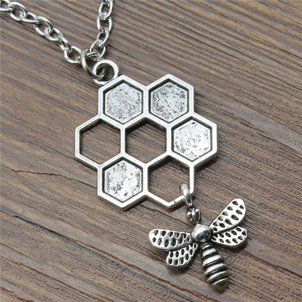 30pcs/lot Honey Bee Pendant Necklace Fashion 46x25mm Honey Bee Necklace Gift For Women Wholesale Jewelry Supplier