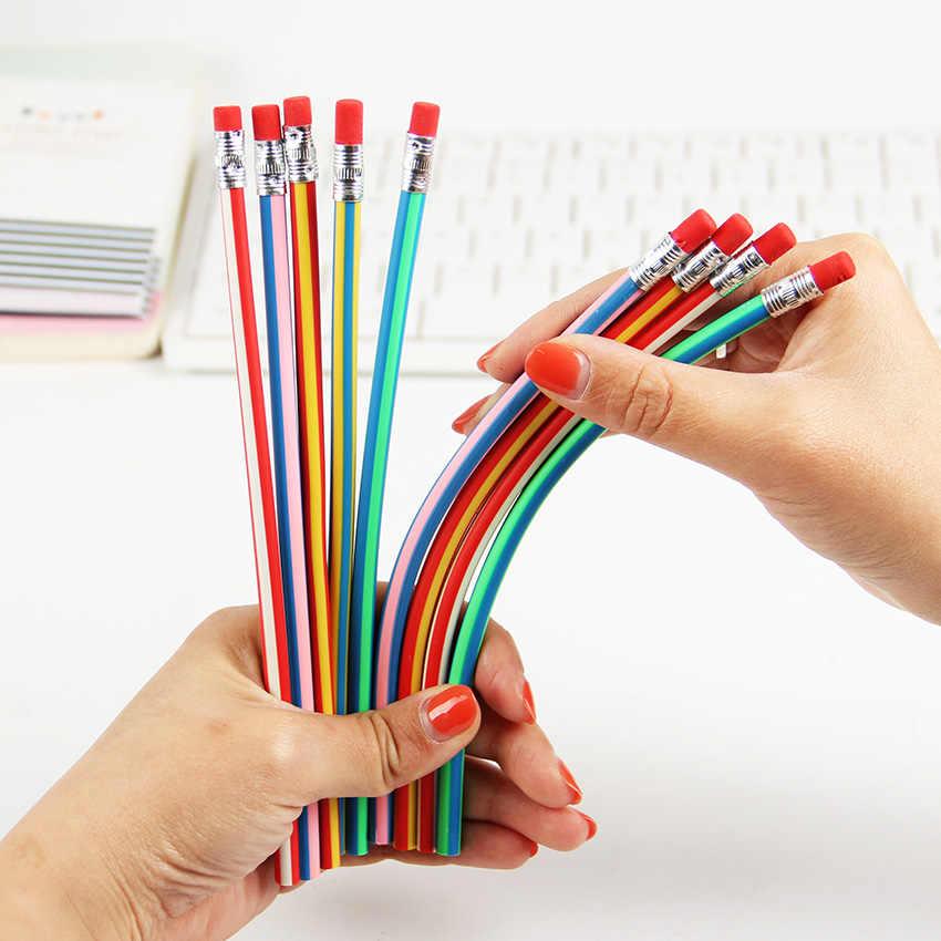 5PCS Corea Carino Cancelleria Colorful Magia Bendy Flessibile Matita Morbida con Eraser Studente di Scuola Uso Ufficio