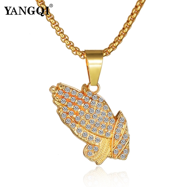 YANGQI HipHop Full Rhinestone Hand Shape Pendant Necklace Women Men Gold Color Stainless Steel Religion Prayer Necklace Jewelry