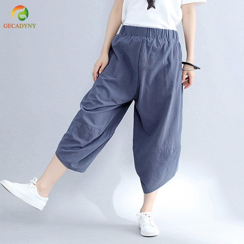 8a98c047b59 Spring Summer Women Oversize Pants Elastic Waist Casual Loose Femme Capris  Ethnic Vintage Cotton Linen Cross Pants With Pockets-in Pants   Capris from  ...