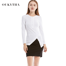 Oukytha 2017 Autumn New Casual O-neck Tees & Tops Long Sleeved Irregular Hem White Shirt Plus Size Button T-Shirt Women Q16345(China)
