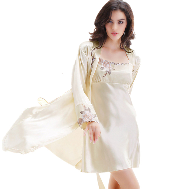 Embroidery Satin Silk Nightgown Robe Sets Home Clothes Women's Silk Nightgowns Women's Silk Bath Robes 2016 Summer Set