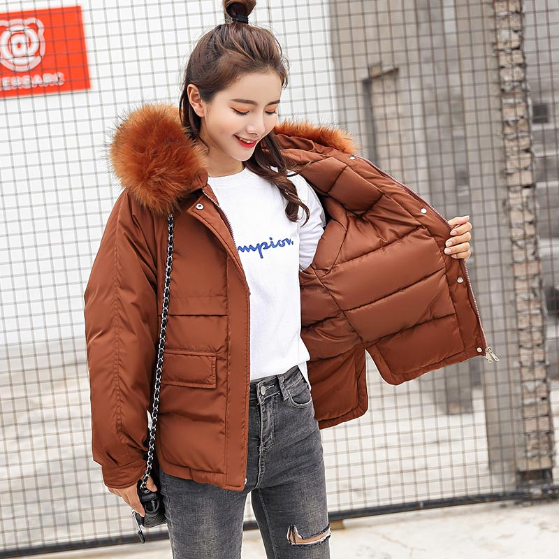 Women   parkas   2018 fashion warm coat winter jacket women female furcollar hooded zipper outwear short winter coats women