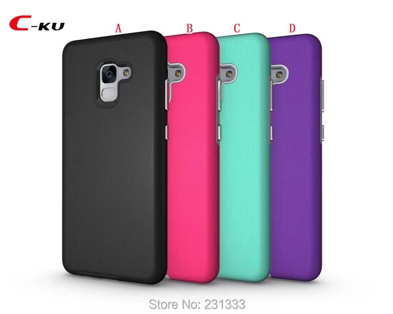 C-ku For Samsung Galaxy A7 2018 A8 PLUS 2018 A5 2018 Armor Hybrid Football Hard PC TPU Case Plating Key Shockproof Skin 50pcs