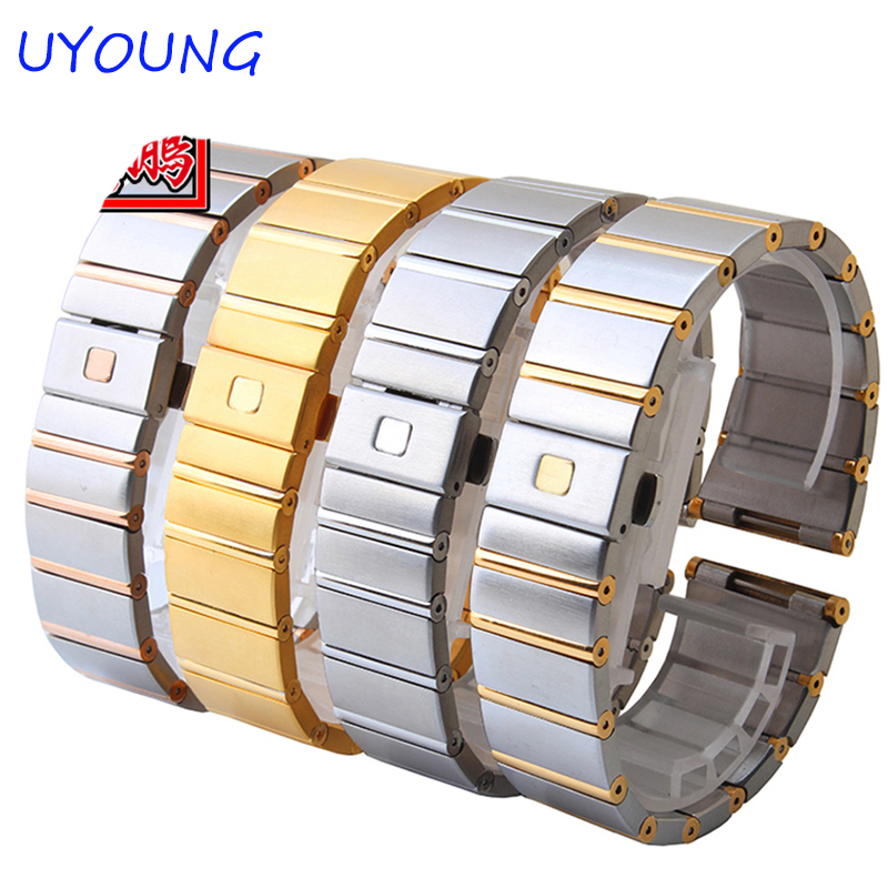 Quality Solid Stainless Steel Watchband 18mm 23mm 25mm Grace Rose Gold Watch Bracelet For CONSTELLATION Double